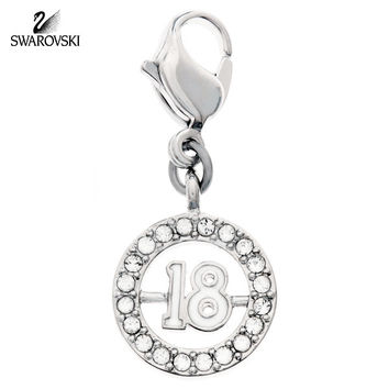 Swarovski Clear Crystal Jewelry 18 Charm Rhodium #1109728