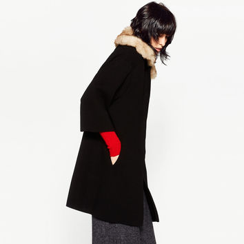 COAT WITH FAUX FUR COLLAR DETAILS