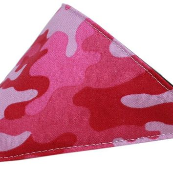 Pink Camo Bandana Pet Collar Black Size 14