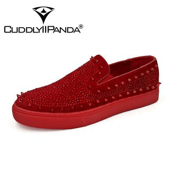 CUDDLYIIPANDA 2018 Men Fashion Sneakers Men's Leather Party Wedding Shoes Spikes Loafers Rivets Casual Men Smoking Slipper Shoes