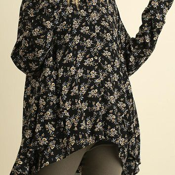 DITZY FLORAL BUTTON DOWN TUNIC