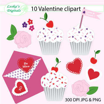 Valentine digital clip art valentine clipart collection, cupcake, cherry, valentine card, rose, flowers, hearts instant download clipart