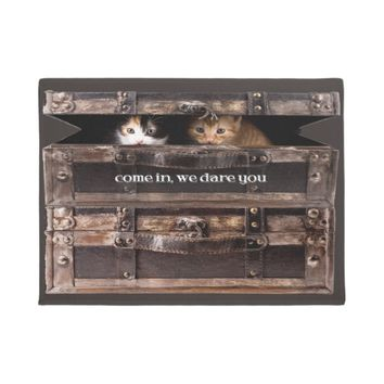 "Cute Kittens, ""Come in, We Dare You"", Trunk Doormat"