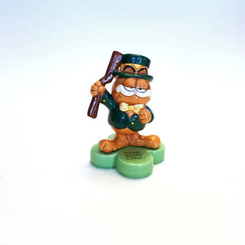"Vintage Enesco Garfield Irish Leprechaun ""Raise Some Cain"" Shillelagh St. Patrick's Day"