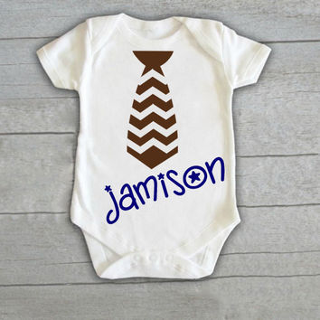 Personalized Chevron Tie Baby Boy Onesuit Newborn (CHOOSE COLORS) Infant Bodysuit Coming Home Outfit Gift Stripe Name