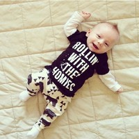 Popular Spring Autumn Baby Boys Clothes Set Long Sleeves Letter Pattern Children Clothing Suits Printed Shirts+Pants VJ0166 smileseller