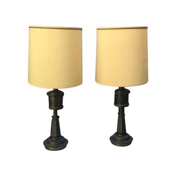 Pre-owned Stiffel Brass Lamps with Shades - A Pair