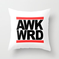 AWK WRD RUN DMC Throw Pillow by RexLambo