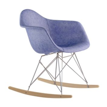 Shop NyeKoncept Midcentury Weathered Blue/Natural Wood/Brushed Nickel Genuine Leather Rocking Chair at Lowes.com