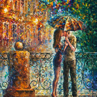 "Kiss Under Umbrella   —  Oil Painting On Canvas By Leonid Afremov. Size: 30""x40"""