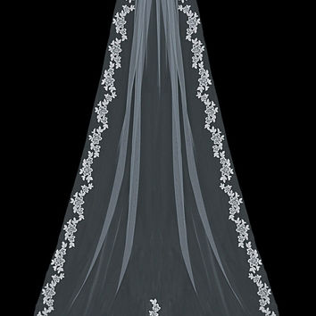 Lace Cathedral Single Layer Wedding Veil V1597C