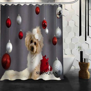 New Bathroom Curtains dog Christmas Shower Curtain Customized Shower Curtain Waterproof Polyester Fabric Curtain For Bathroom