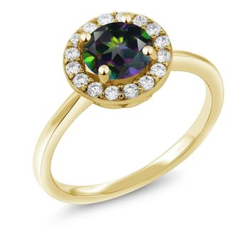 1.50 Ct Round Green Mystic Topaz 18K Yellow Gold Plated Silver Ring