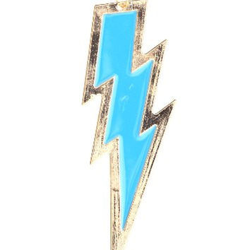 Lightning Bolt Necklace Retro Zap Flash Storm Blue Gold Tone NJ36 Retro Pop Pendant Fashion Jewelry