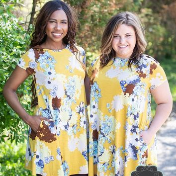 Golden Marigold Floral Tunic Dress
