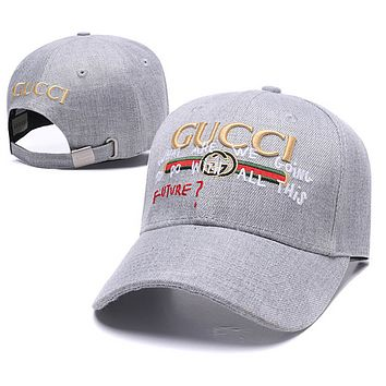 GUCCI Fashion New Embroidery Letter Stripe Sun Protection Women Men Cap Hat Gray