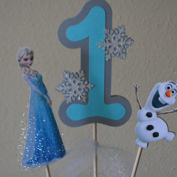 Frozen centerpiece with age featuring Princess Elsa and Olaf for Disney Frozen themed birthday party