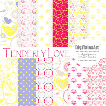 "Hearts digital paper ""Tenderly Love"" digital clip art papers in pink, blue, yellow, patterns, download, hearts background"