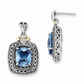 Antique Style Sterling Silver with 14k Yellow Gold Diamond & Blue Topaz Earrings