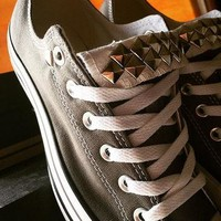 Custom Studded Gray Converse All Stars - Chuck Taylors - ALL SIZES & COLORS!