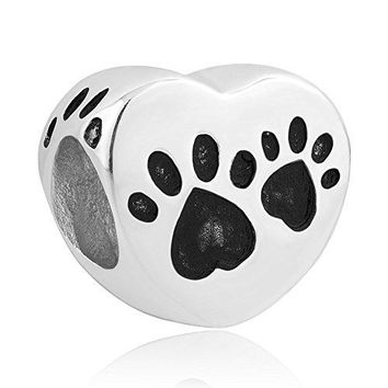 CharmSStory Dog Paw Print Sterling Silver Bead Animals amp Pets Bead Charms For Bracelets