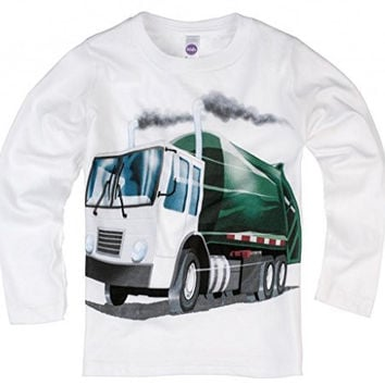 Shirts That Go Little Boys' Long Sleeve Garbage Truck T-Shirt