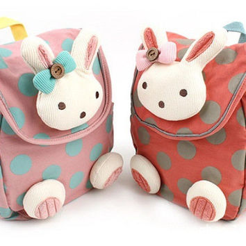 Animal design children boys girls 3D cute rabbit school bag anti-lost backpack kids kindergarten bag baby cartoon