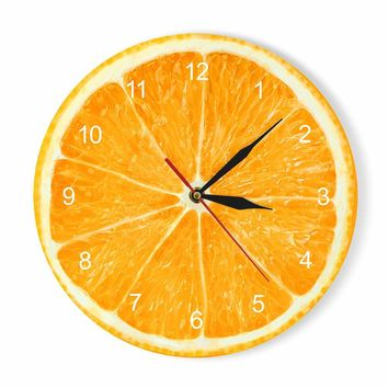 Yellow Lemon Fruit Wall Clock Lime Modern Kitchen Clock Watch Home Decor Living Room Clock Tropical Fruit Wall Art Timepieces