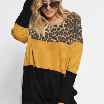 Color Block Thermal Waffle Knit Top with Front Tie - Leopard/Mustard/Black