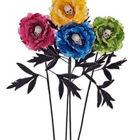 Katherine's Collection Day of the Dead Peony Faux Fabric Flowers with Skull Centers (set/4)