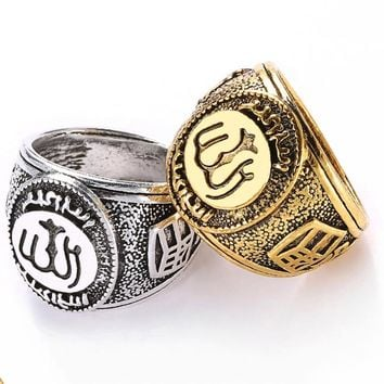 Sale 1pc High Quality Classics Retro Men Ring Muslim Allah Arabic Shahada Arabic God Messager Persian Plated Golden/Silvery