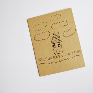 Congrats on your new home kraft paper card 4.25 x5.5in A2 note card / new home / house warming / cute / congratulations / house / new house