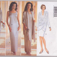 Sewing pattern for special occasion sheath dress in knee or floor length with draped front jacket misses size 12 14 16 Butterick 4033 UNCUT
