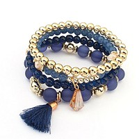 Blue and Gold Beaded Stacked Bracelet Set