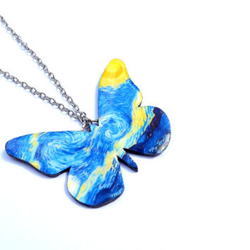 Starry Night butterfly necklace, Butterfly necklace, Necklace, Pendant, Van Gogh inspired earrings, Free shipping worlwide, Gift