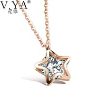 V.YA Five-pointed star Pendant Necklace Stainless Steel Women 42cm+5cm Link Chain