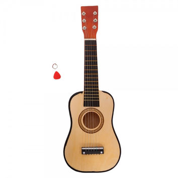 "23"" Acoustic Guitar + Pick + String Pink Wood Color"