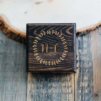Custom Engraved Rustic Wreath & Initials Wedding Wood Ring Box