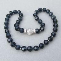 Signed Nolan Miller Vintage PACIFIC BLUE Swarovski Crystal Bead Necklace