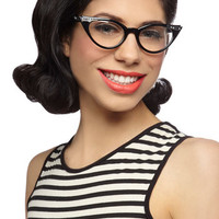 ModCloth Vintage Inspired, 40s, 50s, 60s, Scholastic See Eye to Cat-Eye Glasses in Black