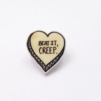 "Yellow Wash ""Beat It, Creep"" Conversation Heart Plastic Brooch."