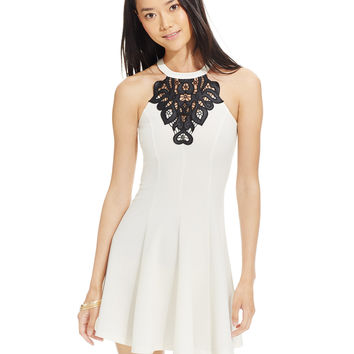 Material Girl Juniors' Embroidered Medallion Fit-and-Flare Dress, Only at Macy's