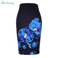 Blue Flower print women pencil skirts lady midi saias female black faldas girls slim bottoms