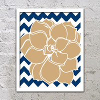 Bold Colorful Dahlia Flower Chevron Brown Tan Beige Navy Blue Decor Wall Art Poster Nursery Print Bedroom Bathroom