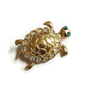 Clear and Green Rhinestone Turtle Brooch Vintage