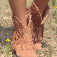 Very Volatile Deerwood Tan Fringe Southwestern Ankle Boot