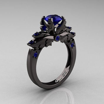 Classic 14K Black Gold 1.0 Carat Dark Blue Sapphire Solitaire Engagement Ring R482-14KBGBS