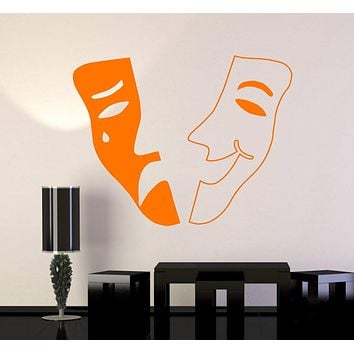 Vinyl Wall Decal Theatrical Mask Theater Emotions Tragedy Comedy Stickers Unique Gift (ig4799)