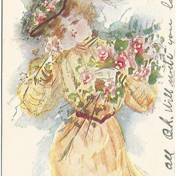 Just Girl Series by Artist R. Hill Vintage Undivided Back Postcard Beautiful Woman in Merry Widow's Hat Victorian Period 1906 Poem