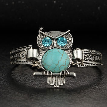 Vintage Jewelry Love Charm Tibetan Silver Color Ethnic Style Femme Bohemian Turquoise Chain Bracelets For Women pulseras mujer BJDY130